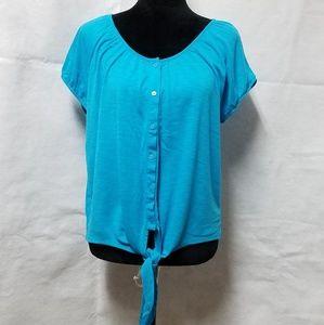 Blue Floral Lace Back Tie Front Button Down Blouse